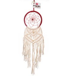 Rooh Dream Catchers Red And White Wool And Feather Red And Feng Shui