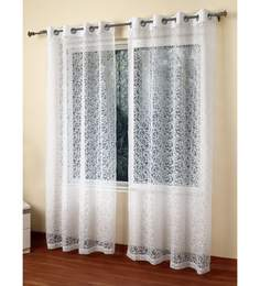 Rosara White Polycotton 55 X 84 Inch Ezra Floral Sheer Door Curtain