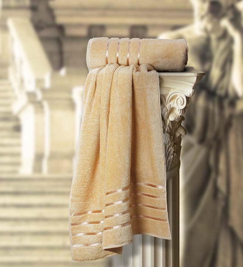 Roman Beige Cotton Bath Towel by Spread