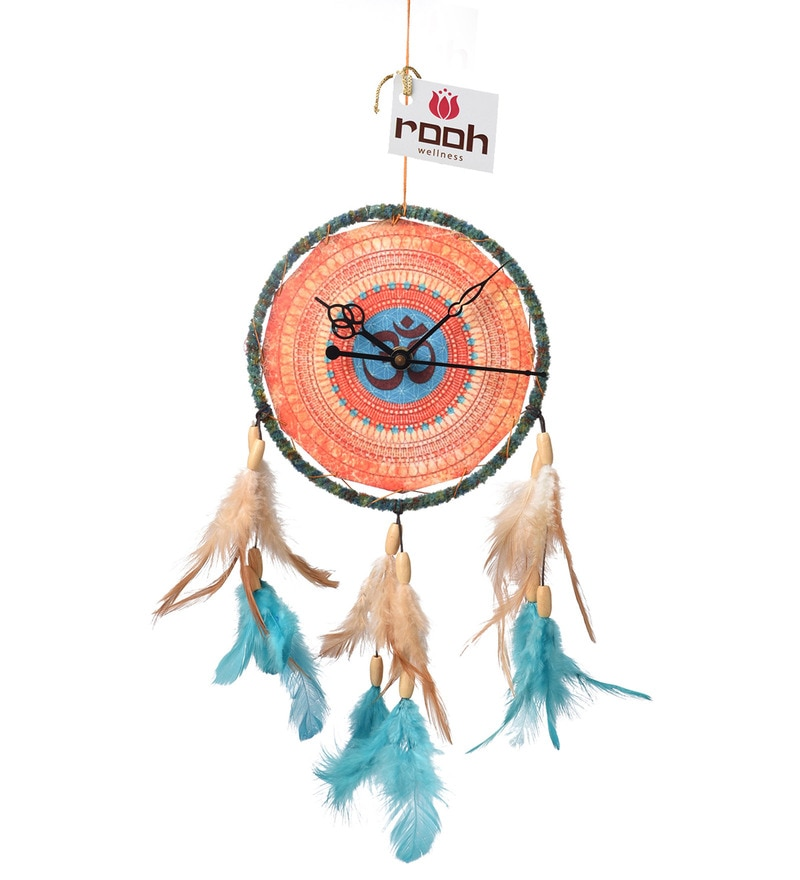 Multicolour Wool and Feather Kesari Om Dream Catcher Clock by Rooh Dream Catchers
