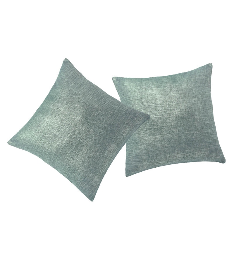 Blue Polyester 16 x 16 Inch Linen Cushion Cover - Set of 2 by Rosara