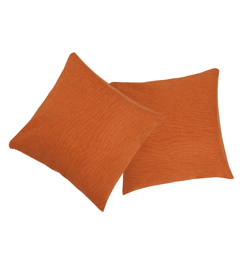 Orange Cotton 16 x 16 Inch Allure Heavy Casement Cushion Cover - Set of 2 by Rosara