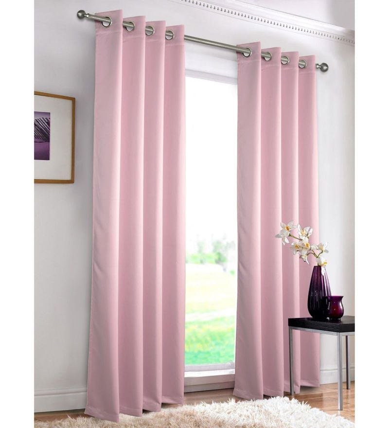 Pink Polyester 55 x 84 Inch Erba Plain Blackout Door Curtain by Rosara