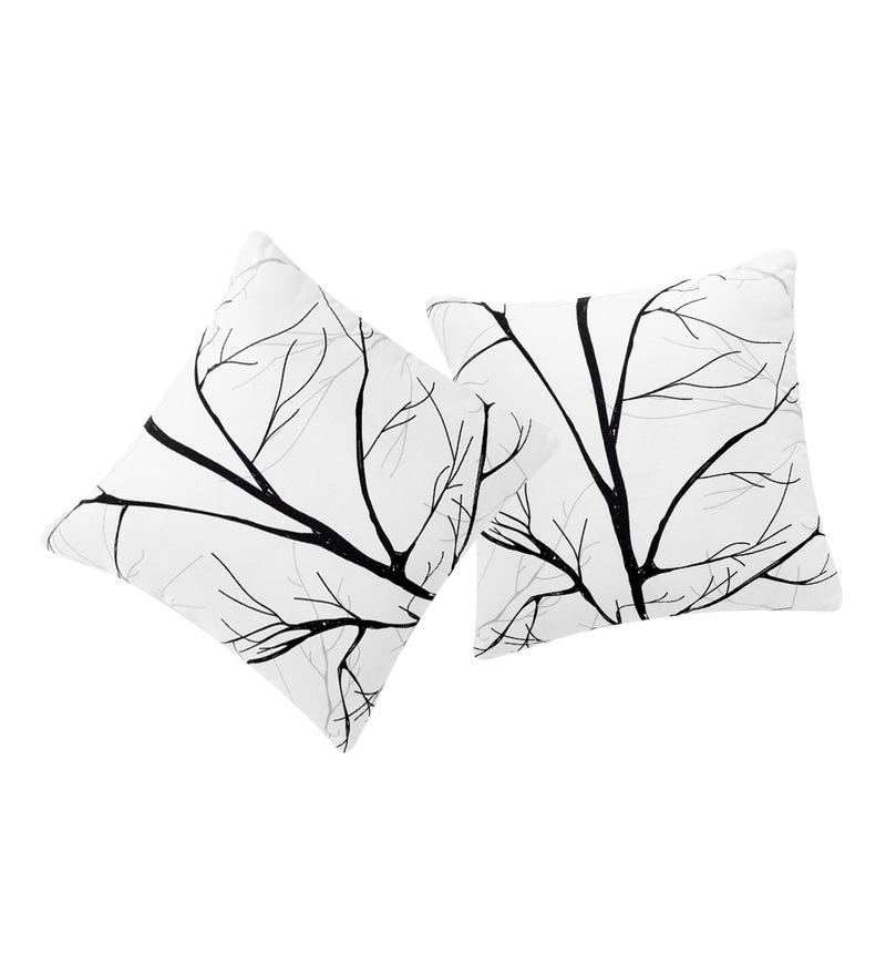 White Polyester 16 x 16 Inch Branch Printed Cushion Cover - Set of 2 by Rosara