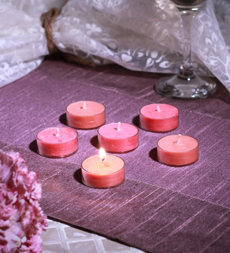 Rose & Sandalwood Scented Tea Light Set of 6 by Aroma India