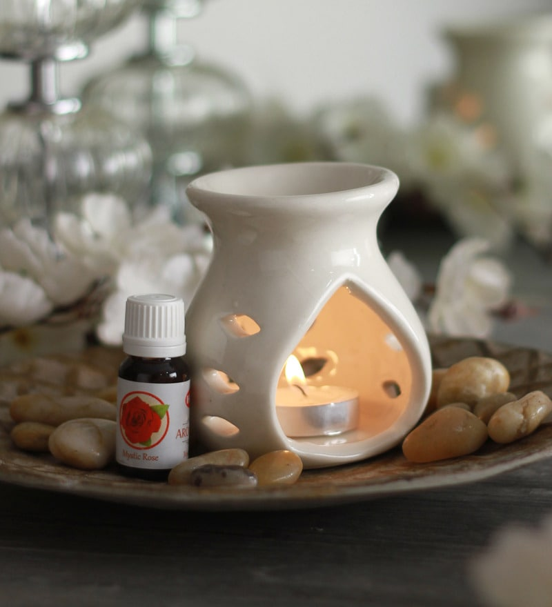 Rose Mystic Aroma Oil with Ceramic Diffuser Pot & Tea Light Candle
