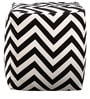 Rocca Printed Cotton Pouffe in Black & White Colour by Purplewood