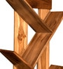 Divine Decor Brown Teak Wood Wall Shelf with Hooks for Wall Hanging