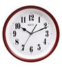 Rosetta White & Red Wooden 13 Inch Round Ethnic Wall Clock
