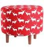 Round Ottoman in Red Colour by My Gift Booth