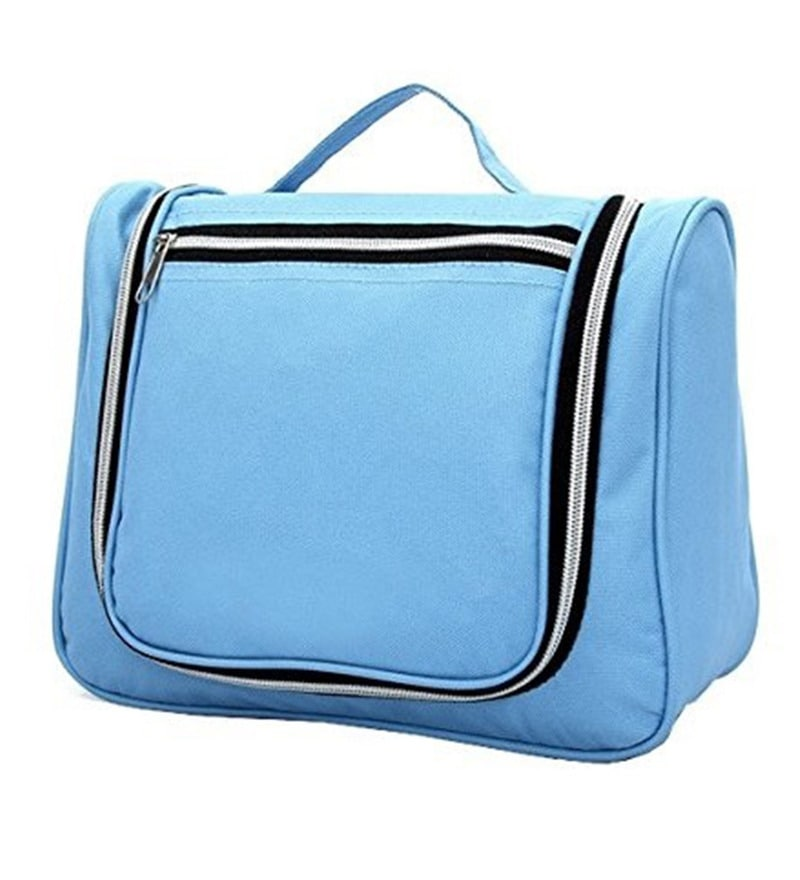 RUBY Canvas Blue Travel Toiletry Bag with Handle