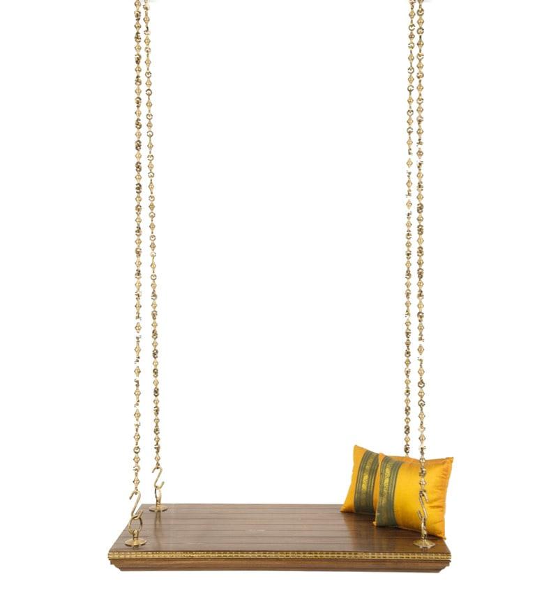 Buy Rudrapriya Jhula With Antique Brass Chain In Walnut