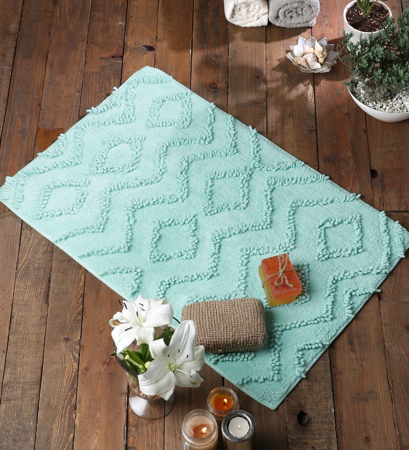 Aqua Cotton 20 x 31 Bath Mat - 1 Pc by Rugs to Clear