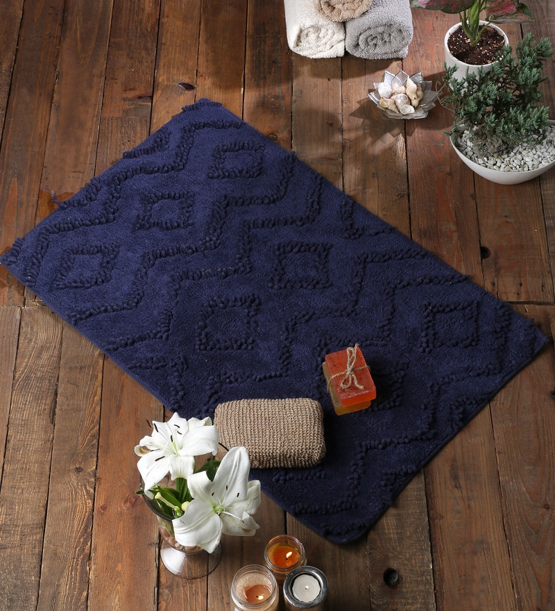 20 x 31 Inch Navy Cotton Bath Mat by Rugs to Clear