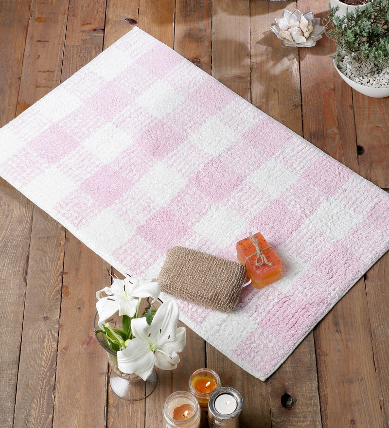 Pink Cotton 20 x 31 Bath Mat - 1 Pc by Rugs to Clear