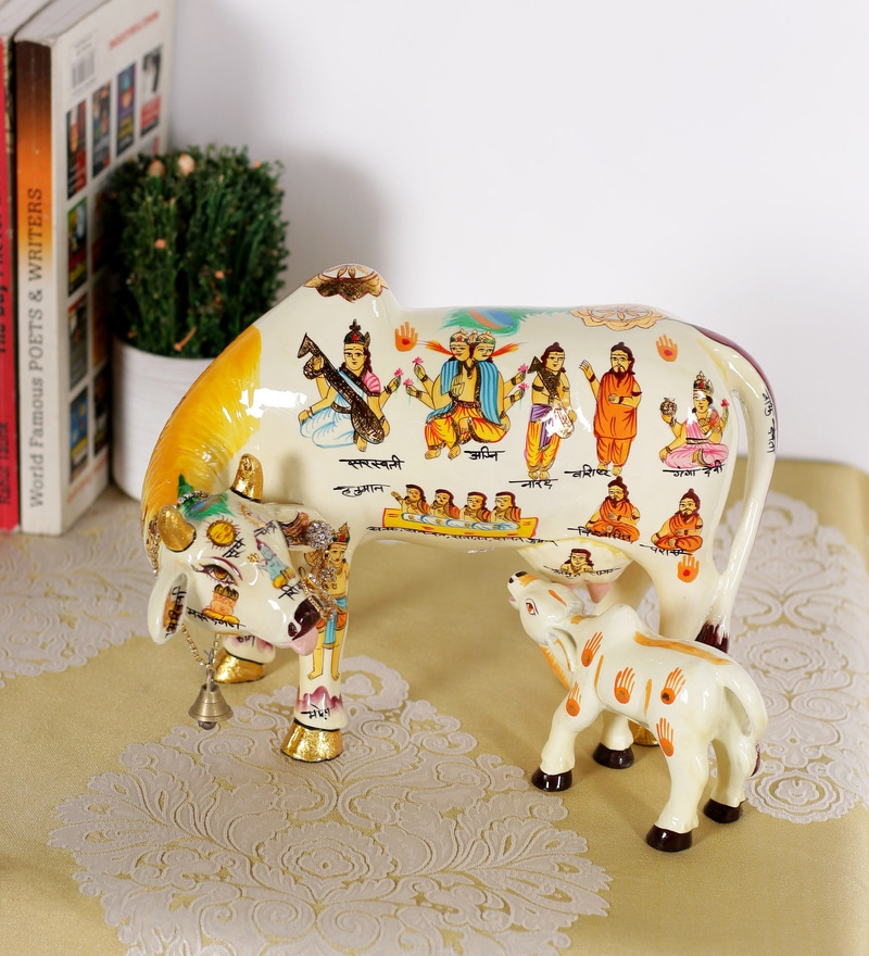 Multicolour Resin Kamdhenu with Calf by Rural Craft