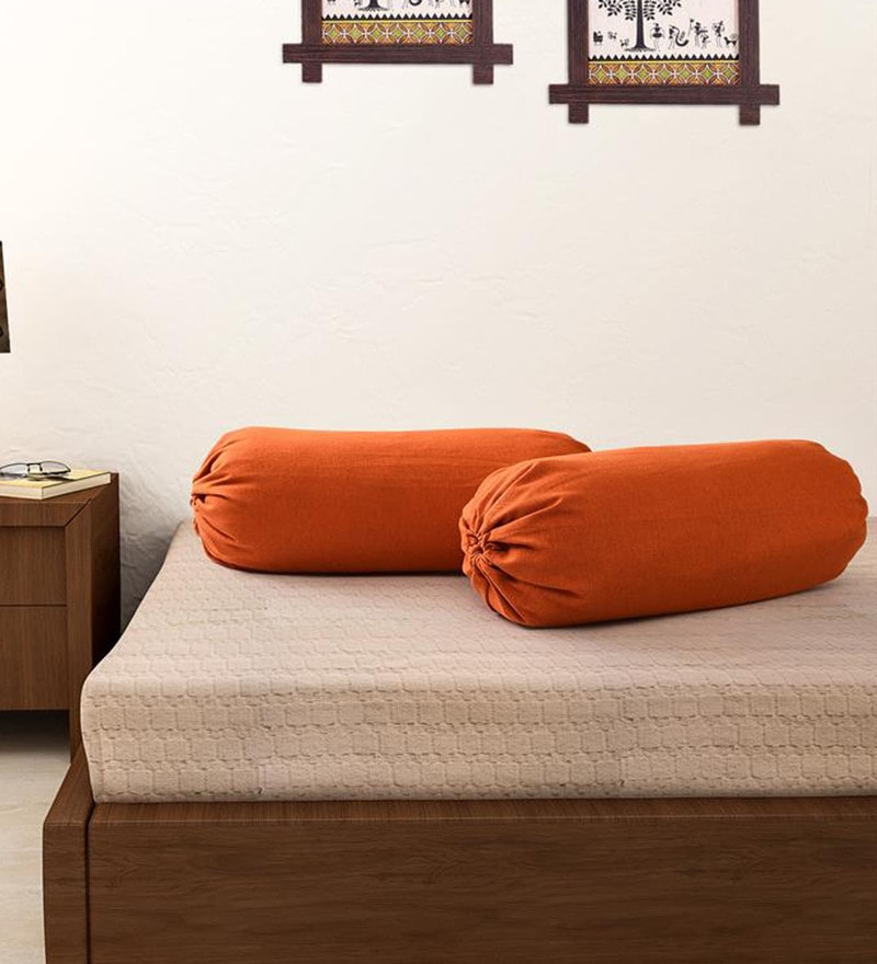 Rust 100% Cotton 15 x 30 Inch Bolster Cover - Set of 2 by Soumya