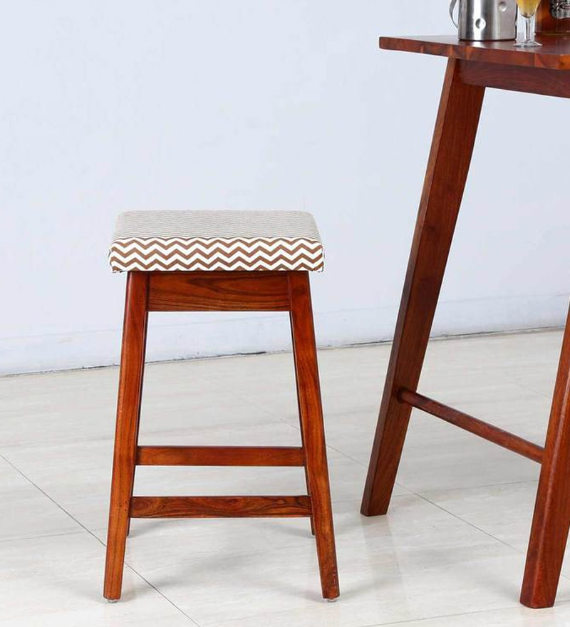 Rust Brown Upholstered Bar Stool in Honey Oak Finish by Woodsworth