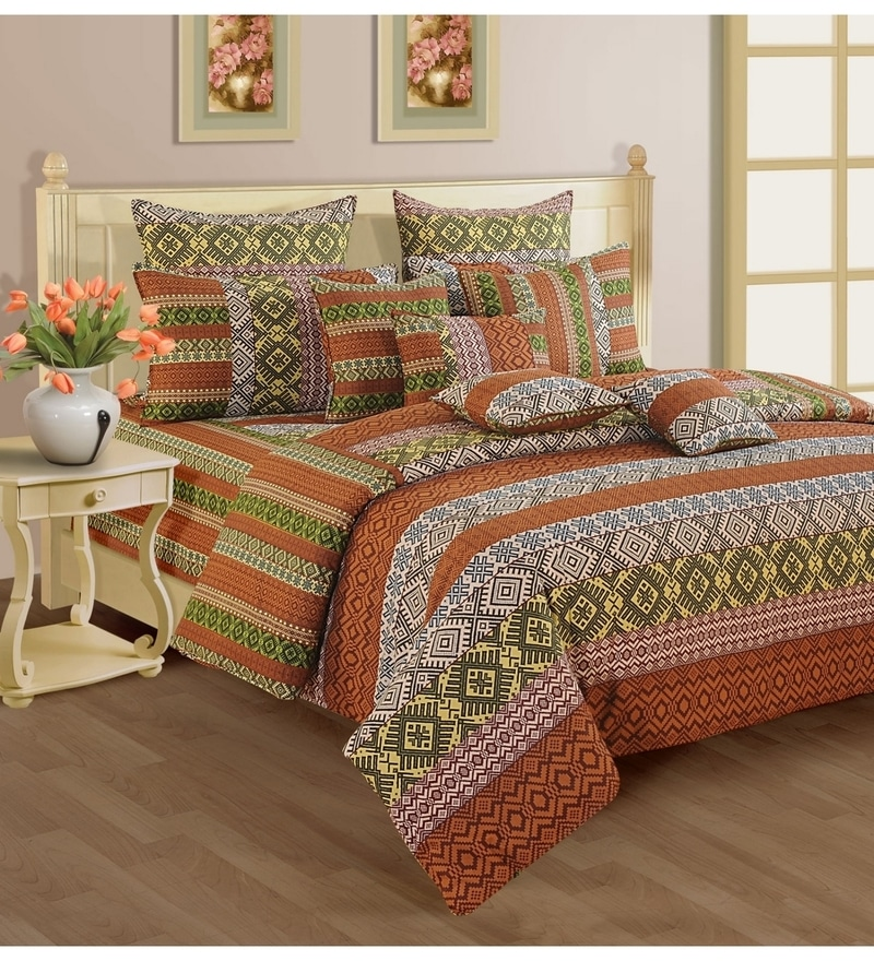 Rust Cotton King Size Bedsheet - Set of 3 by Swayam