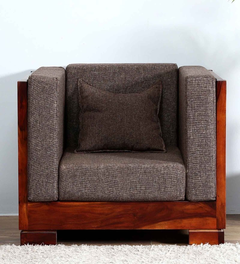 Ruston Single Seater Sofa in Honey Oak Finish by Woodsworth