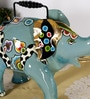 Rural Craft Multicolour Iron Elephant Water Vase