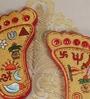 Multicolour MDF Goddess Lakshmi Feet Idol by Rural Craft