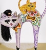Rural Craft Multicolour Resin Funny Cats Showpiece