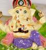 Rural Craft Multicolour Resin Ganesha on Leaf