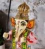 Rural Craft Multicolour Resin Ganesha with Umbrella Handpainted Idol