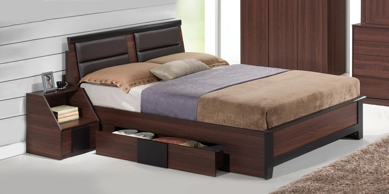 Ryouta Queen Size Bed With Storage In Wenge Finish By Mintwud