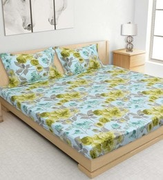 S9home By Seasons Aqua Cotton Printed Bed Sheet With Matching Pillow Covers - 1602602