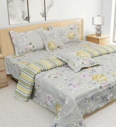S9Home By Seasons Grey 100% Cotton 108 X 108 Inch Quilted Printed Bedding Set
