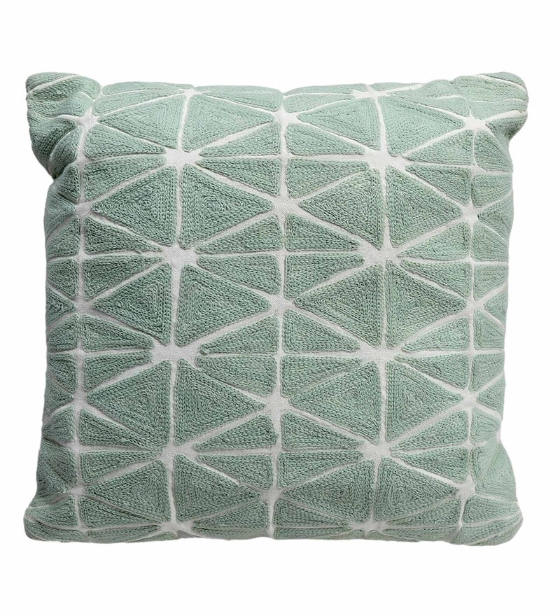 Aqua Cotton 17 x 17 Inch Embroidery Cushion with Filler by S9home by Seasons