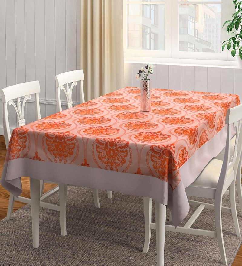 S9Home by Seasons Damask Matching Border Orange Polyester Table Cloth
