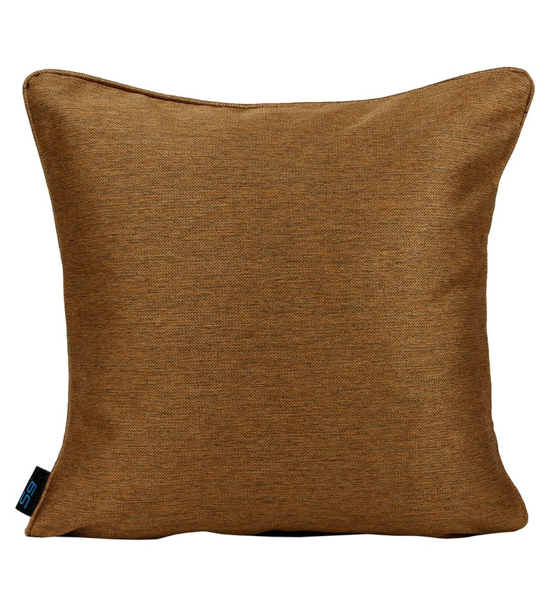 Golden Polyester 16 x 16 Inch Plain Cushion Cover by S9home by Seasons