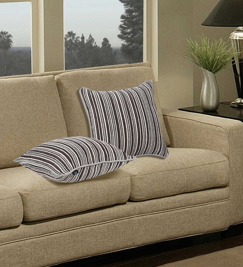 Grey & White Polyester 16 x 16 Inch Stripe Cushion Cover - Set of 2 by S9home by Seasons