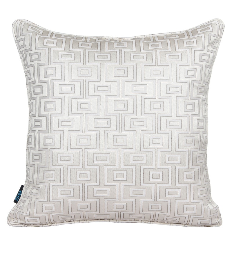 Ivory Polyester 16 x 16 Inch Geometric Cushion Cover by S9home by Seasons