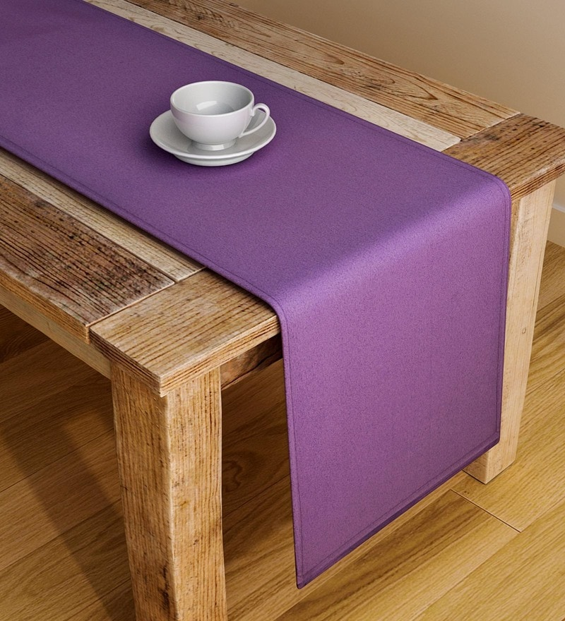 S9Home By Seasons Plain Purple Polyester Table Runner