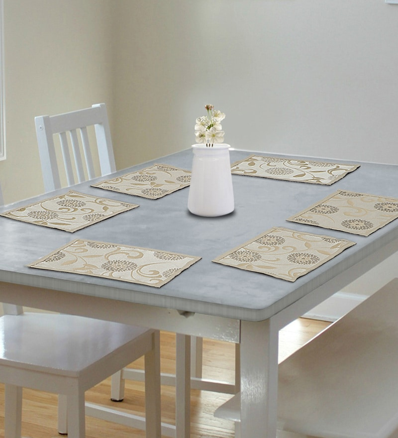 S9home by Seasons Premium Quality 6 Seater Beige Polyester Table Placemats with Border - Set of 6