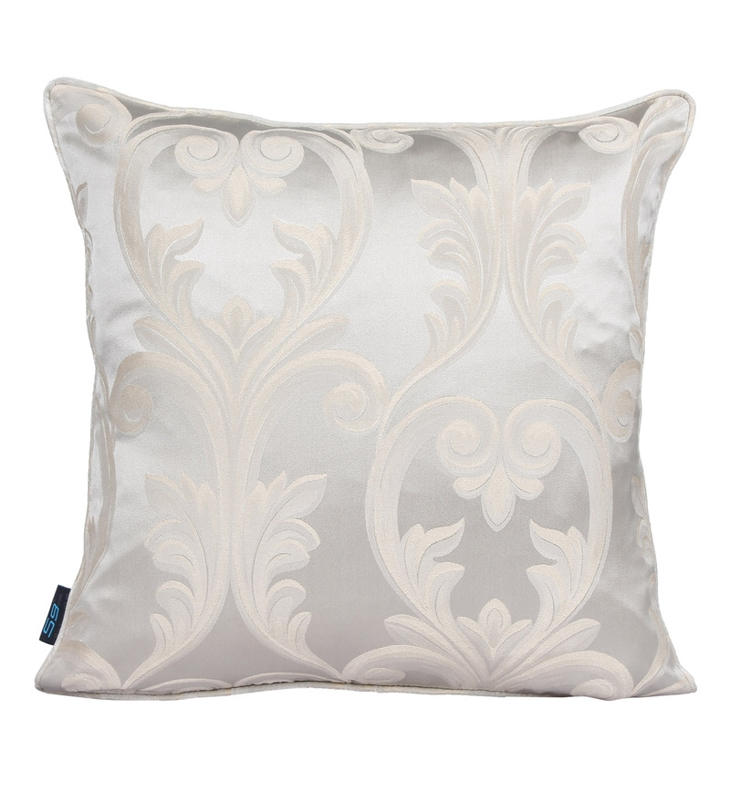 Silver Polyester 16 x 16 Inch Floral Silver Cushion Cover by S9home by Seasons