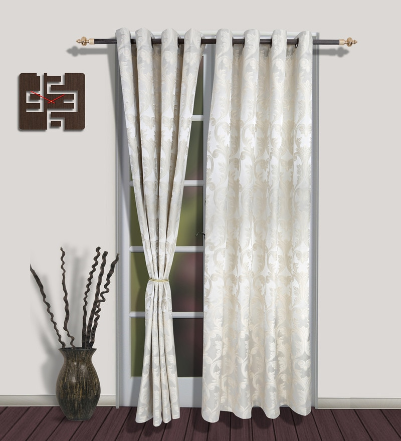 Long Off White Polyester Door Curtain - Set of 2 by S9home by Seasons