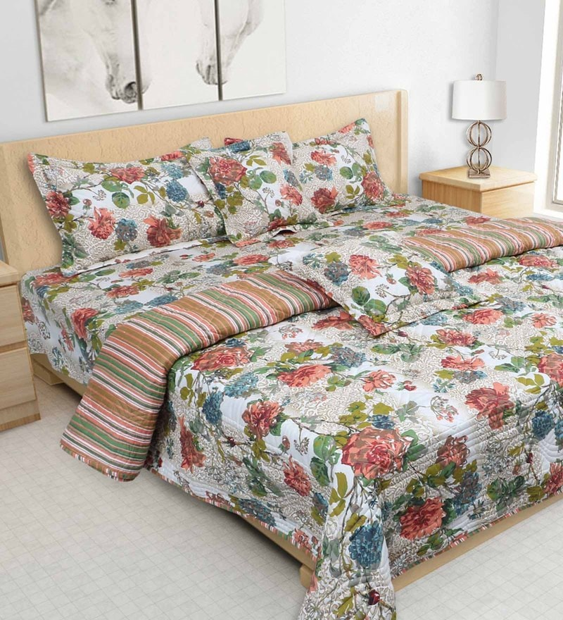 Multicolour 100% Cotton 108 x 108 Inch Printed Bedding Set by S9home by Seasons