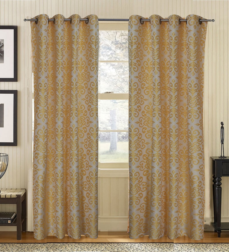 Yellow Polyester Abstract Window Curtain - Set of 2 by S9home by Seasons