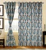 S9Home by Seasons Blue & Beige Polyester Abstract Curtain - Set of 2