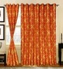 S9Home by Seasons Gold & Orange Polyester Solid Curtain - Set of 2