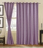 S9home by Seasons Purple Polyester Geometric Window Curtain - Set of 2