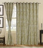 S9home by Seasons Yellow Polyester Abstract Window Curtain - Set of 2