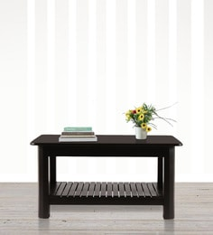 Saffire Coffee Table With Slated Shelf In Brown Finish