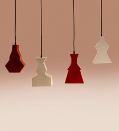Sahil Sarthak Designs Red And White Mild Steel Pendant Lamp - Set Of 4