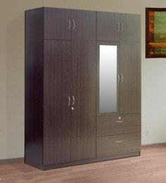 Sakura Four Door Wardrobe With Loft In Wenge Finish